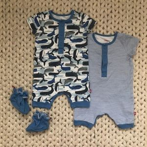 Zutano Baby Boy Rompers & Cotton Booties Set